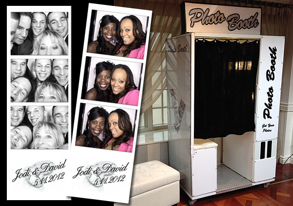 King Photo Booth (White) with sample photo strips